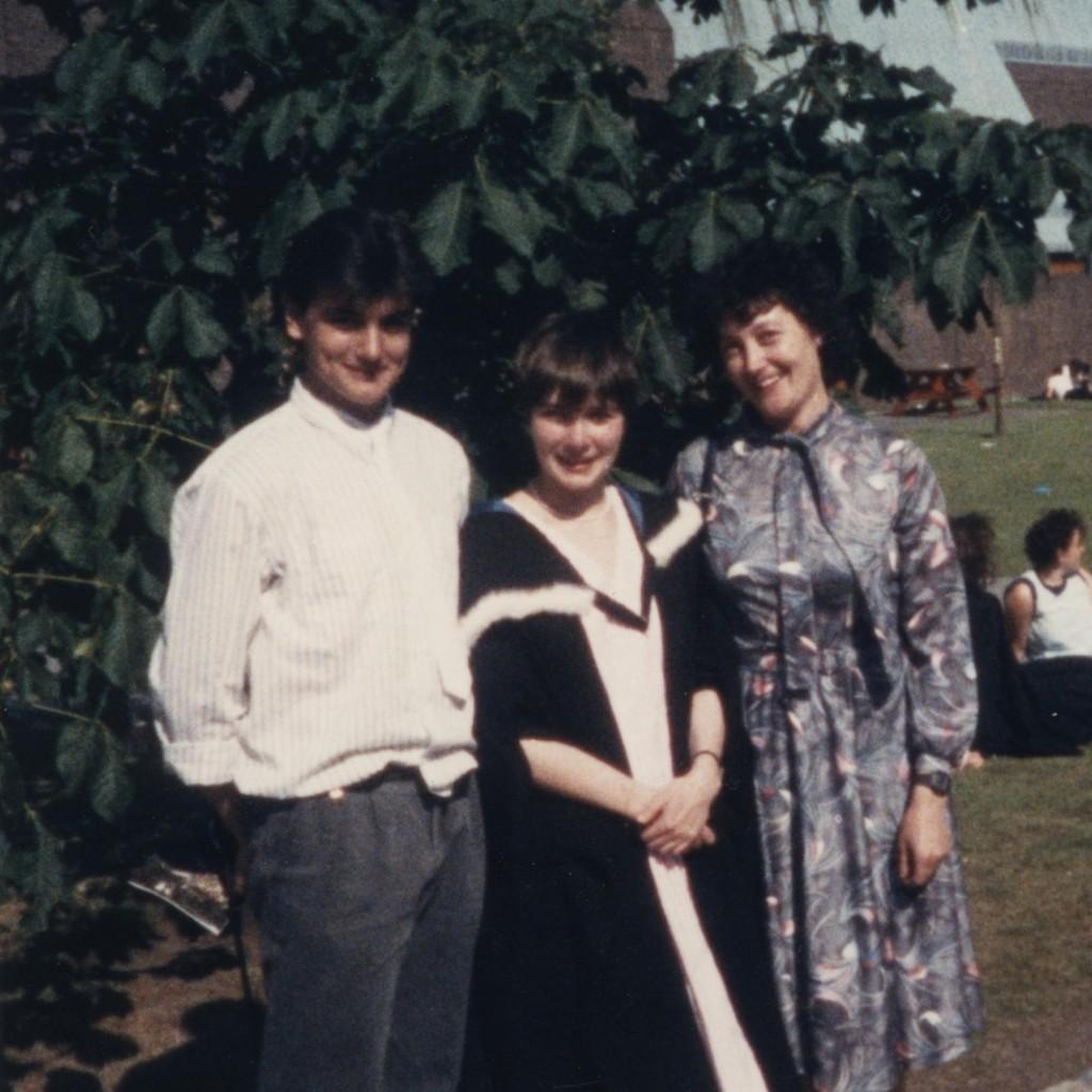 Graduation, University of Newcastle-upon-Tyne, June 1986. Pete, Karen, Kath