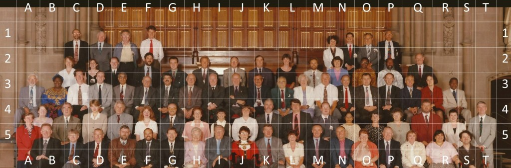 Same image with a grid overlay to identify individual councillors